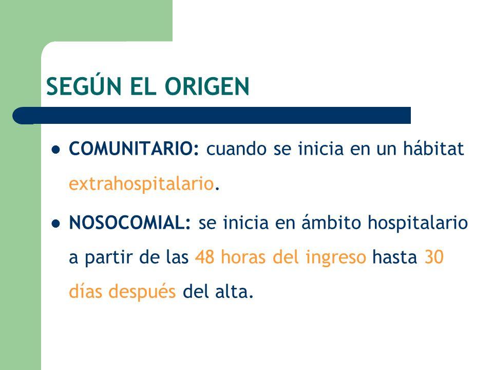 SEGÚN EL ORIGEN COMUNITARIO: cuando se inicia en un hábitat extrahospitalario.