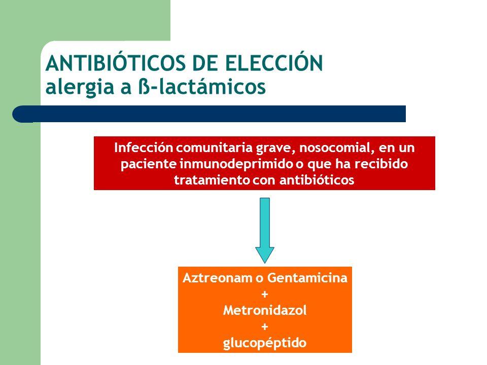 ANTIBIÓTICOS DE ELECCIÓN alergia a ß-lactámicos
