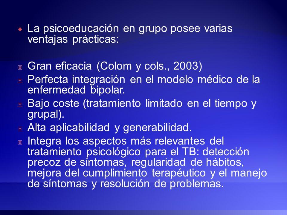 La psicoeducación en grupo posee varias ventajas prácticas: