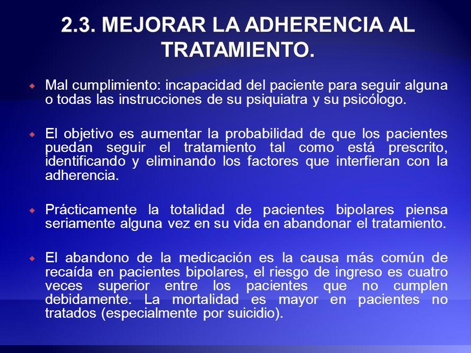 Mal cumplimiento: incapacidad del paciente para seguir alguna o todas las instrucciones de su psiquiatra y su psicólogo.