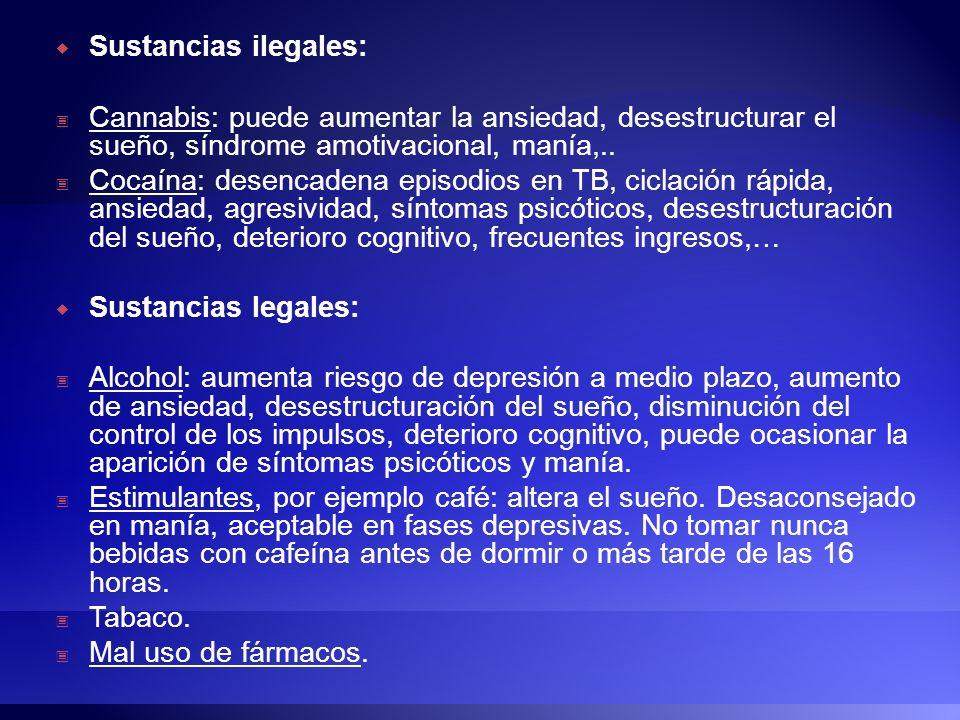 Sustancias ilegales:Cannabis: puede aumentar la ansiedad, desestructurar el sueño, síndrome amotivacional, manía,..