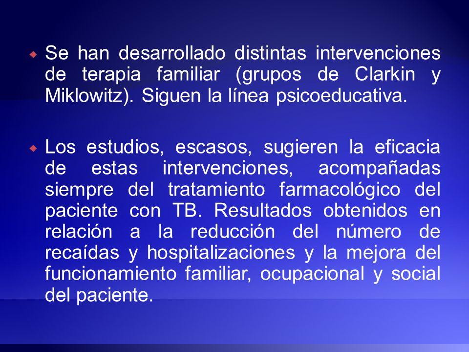 Se han desarrollado distintas intervenciones de terapia familiar (grupos de Clarkin y Miklowitz). Siguen la línea psicoeducativa.