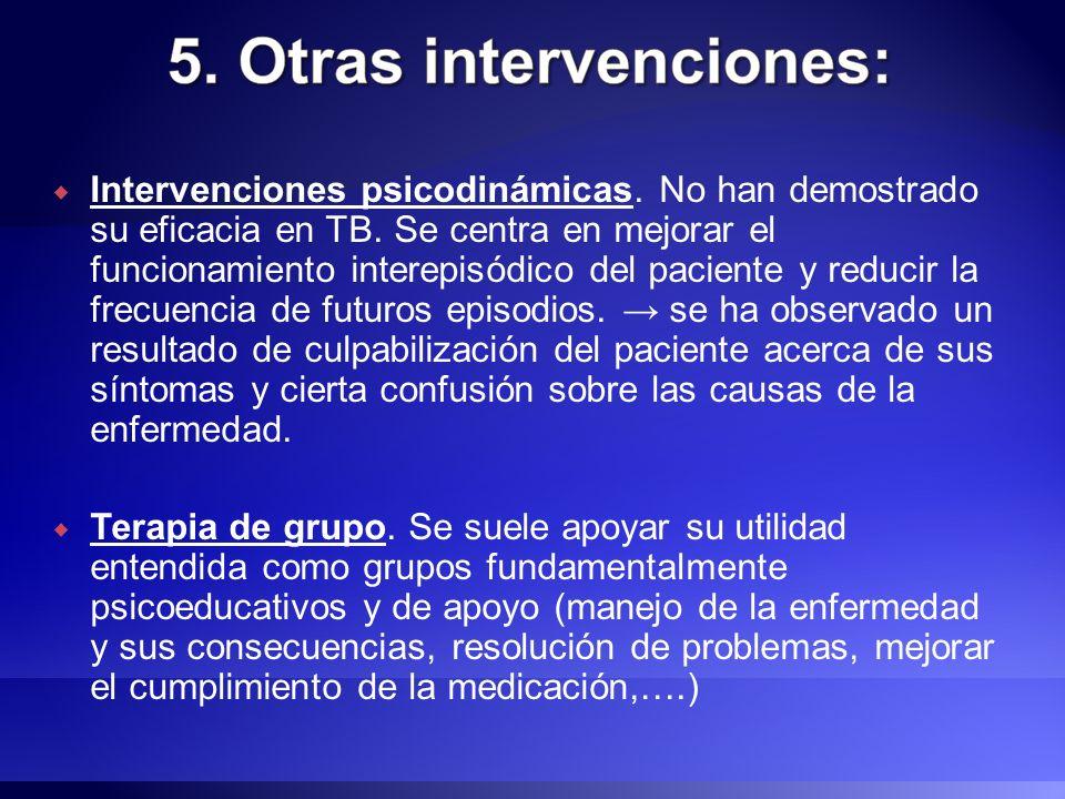 Intervenciones psicodinámicas. No han demostrado su eficacia en TB