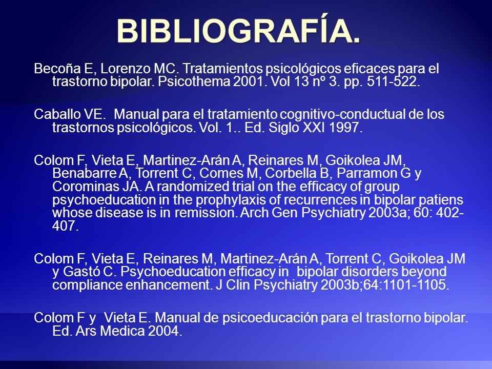 Becoña E, Lorenzo MC. Tratamientos psicológicos eficaces para el trastorno bipolar. Psicothema 2001. Vol 13 nº 3. pp. 511-522.