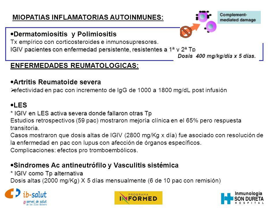 MIOPATIAS INFLAMATORIAS AUTOINMUNES: Dermatomiositis y Polimiositis