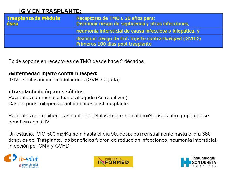 IGIV EN TRASPLANTE: Trasplante de Médula ósea. Receptores de TMO ≥ 20 años para: Disminuir riesgo de septicemia y otras infecciones,