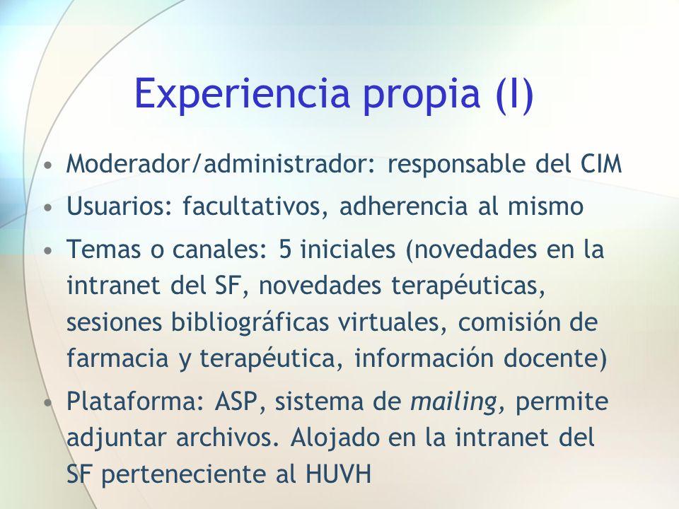 Experiencia propia (I)