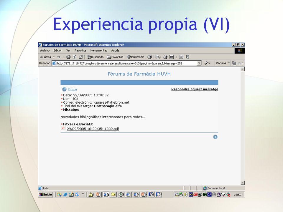 Experiencia propia (VI)