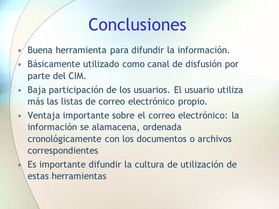 Conclusiones Buena herramienta para difundir la información.