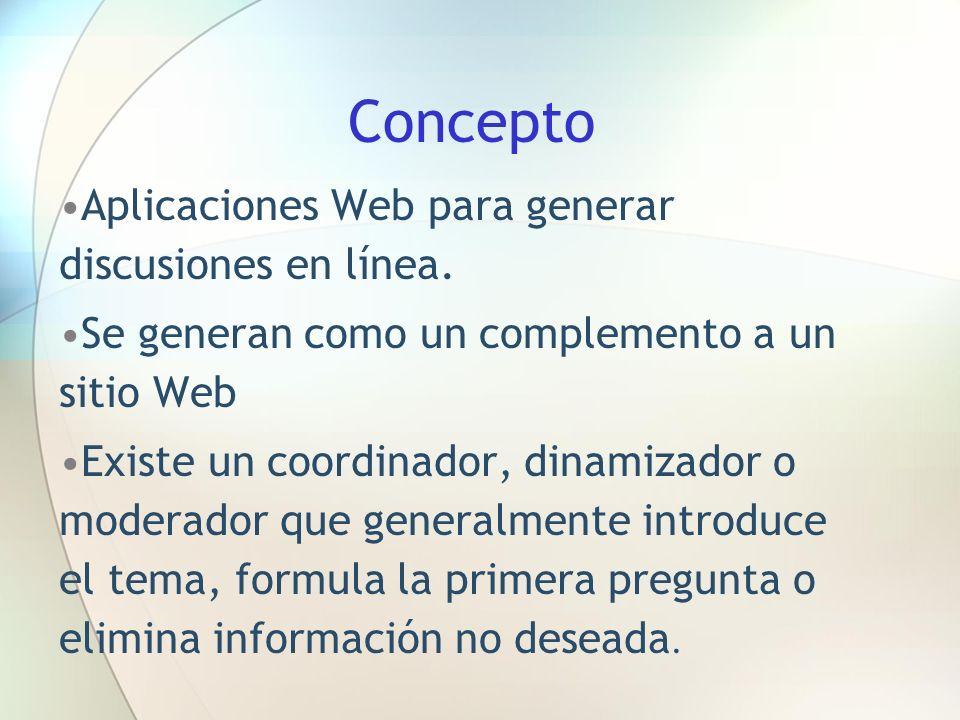 Concepto Aplicaciones Web para generar discusiones en línea.