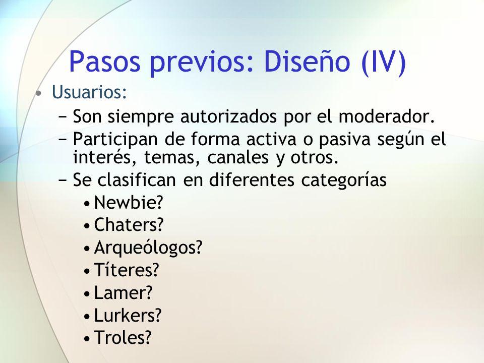 Pasos previos: Diseño (IV)