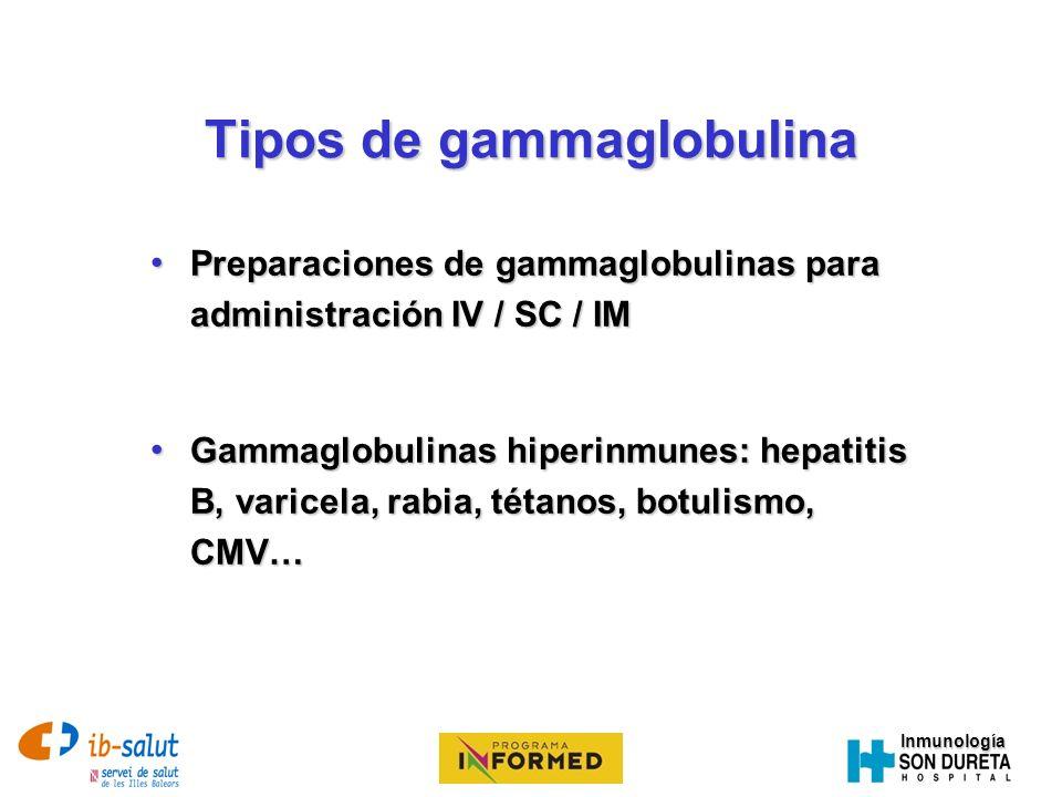 Tipos de gammaglobulina