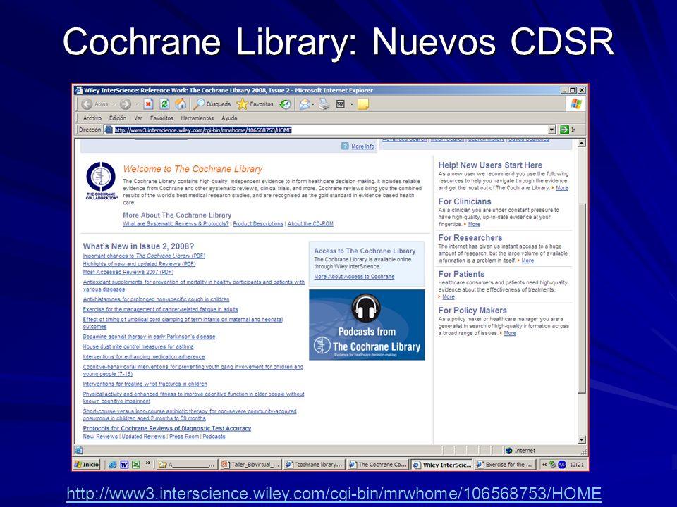 Cochrane Library: Nuevos CDSR