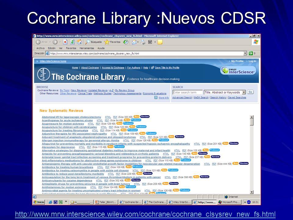 Cochrane Library :Nuevos CDSR