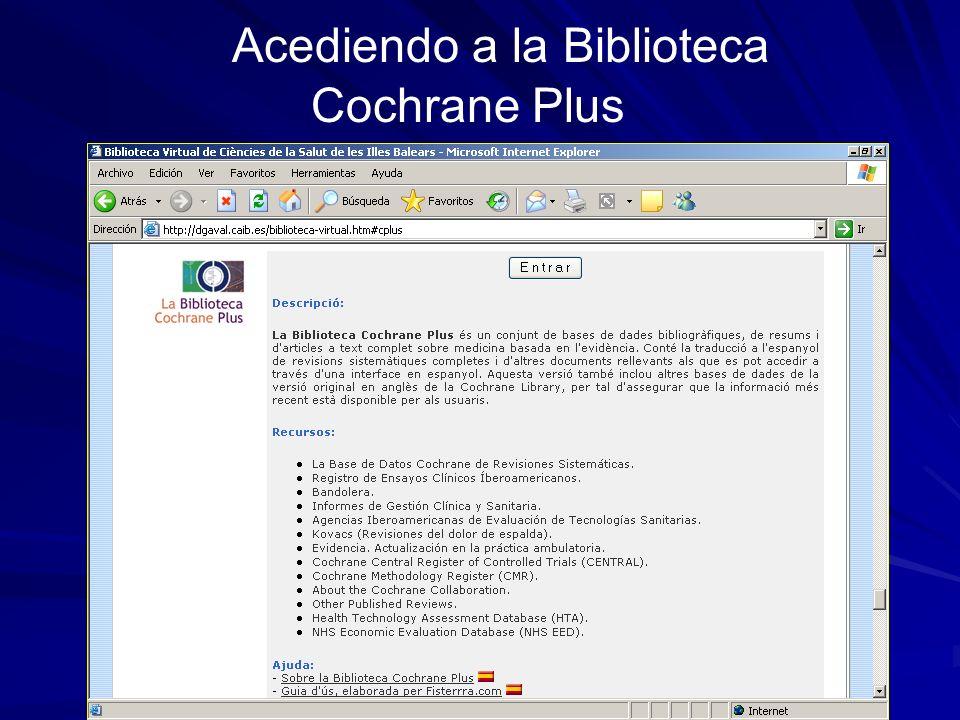 Acediendo a la Biblioteca Cochrane Plus