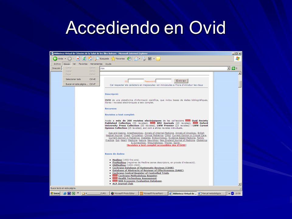 Accediendo en Ovid