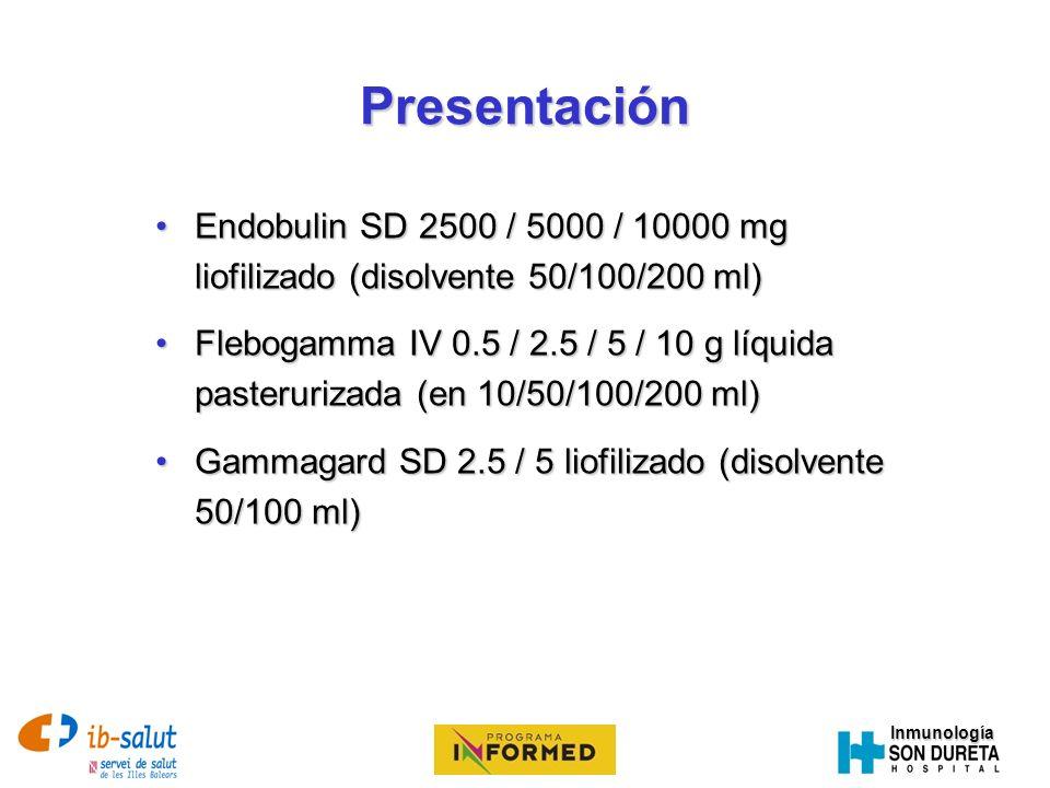 PresentaciónEndobulin SD 2500 / 5000 / 10000 mg liofilizado (disolvente 50/100/200 ml)