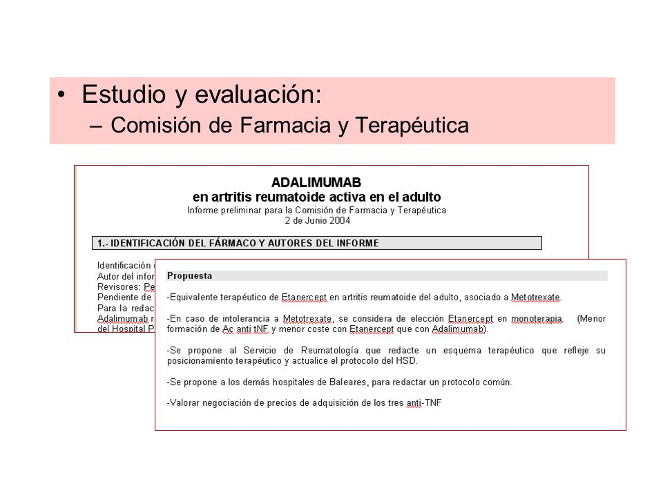 Estudio y evaluación: Comisión de Farmacia y Terapéutica