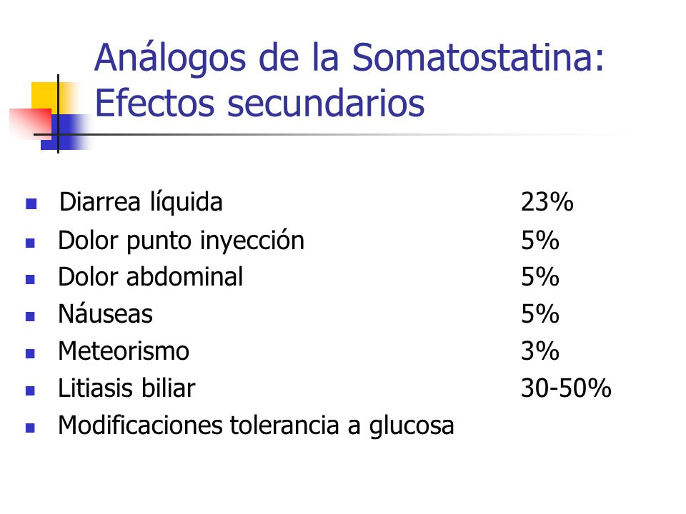 Análogos de la Somatostatina: Efectos secundarios