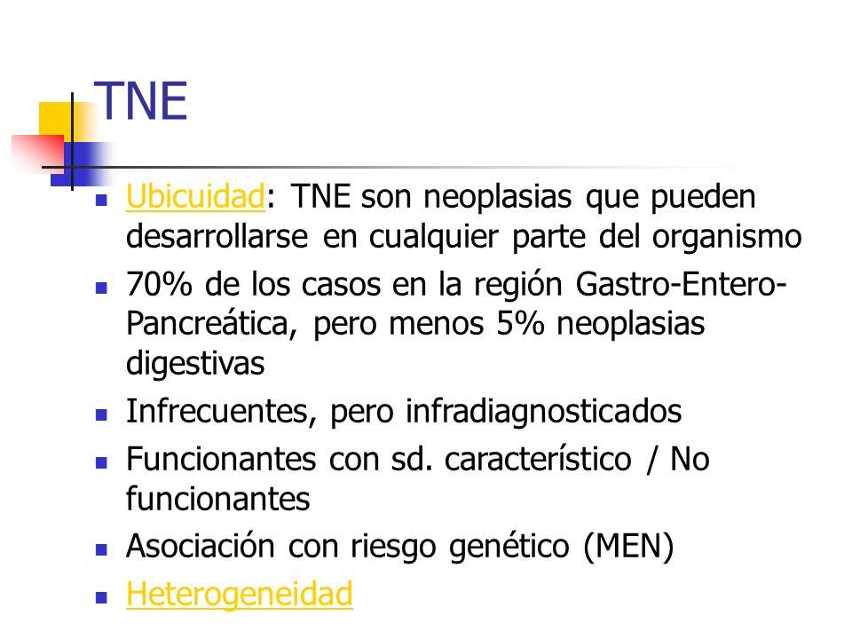 TNE Ubicuidad: TNE son neoplasias que pueden desarrollarse en cualquier parte del organismo.