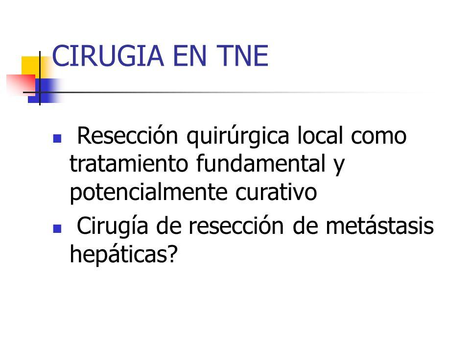 CIRUGIA EN TNE Resección quirúrgica local como tratamiento fundamental y potencialmente curativo.