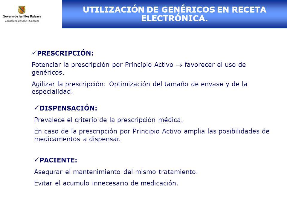 UTILIZACIÓN DE GENÉRICOS EN RECETA ELECTRÓNICA.