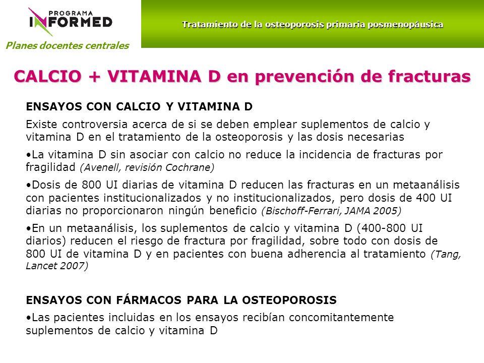 CALCIO + VITAMINA D en prevención de fracturas