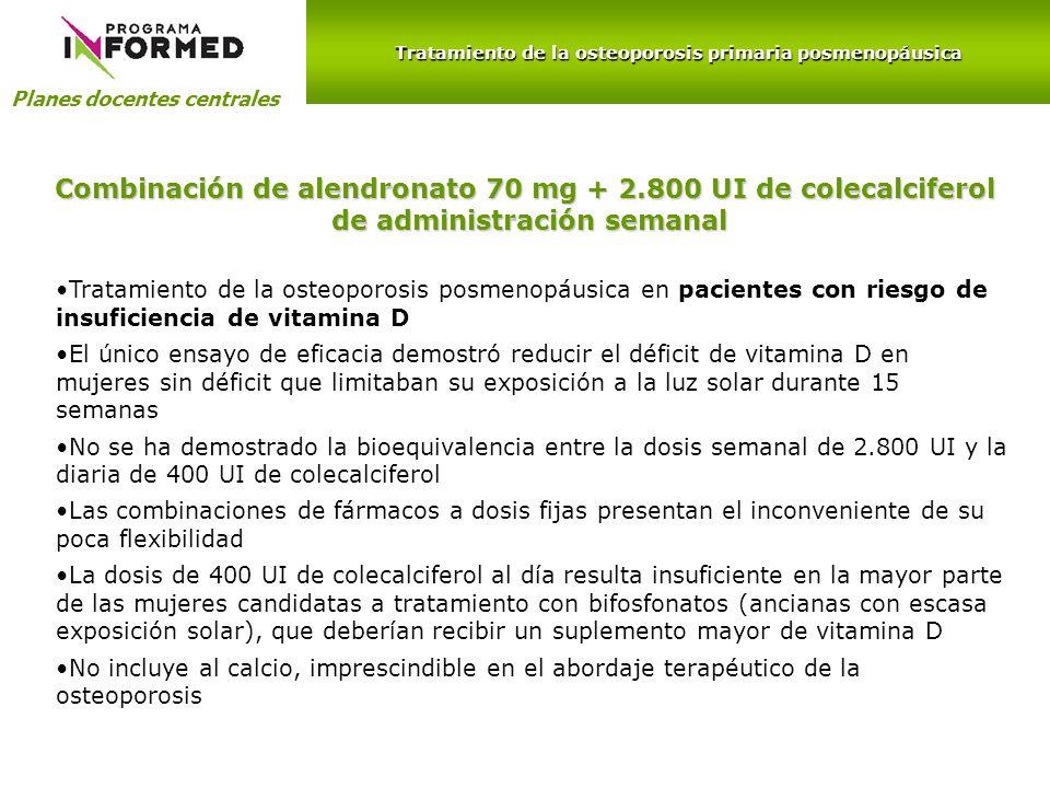 Combinación de alendronato 70 mg + 2.800 UI de colecalciferol