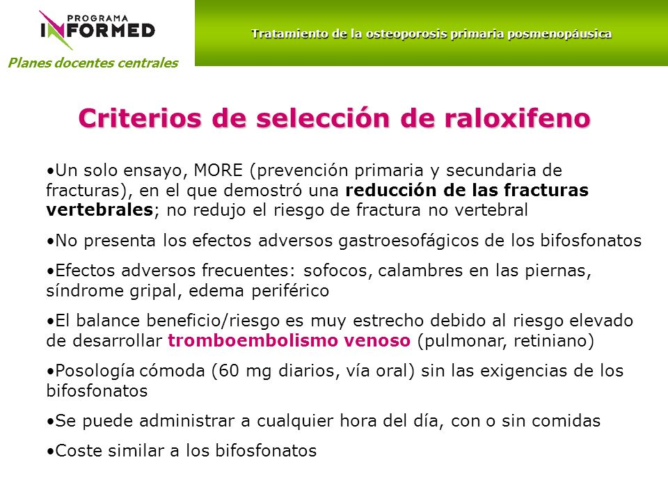 Criterios de selección de raloxifeno