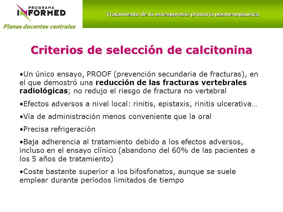 Criterios de selección de calcitonina