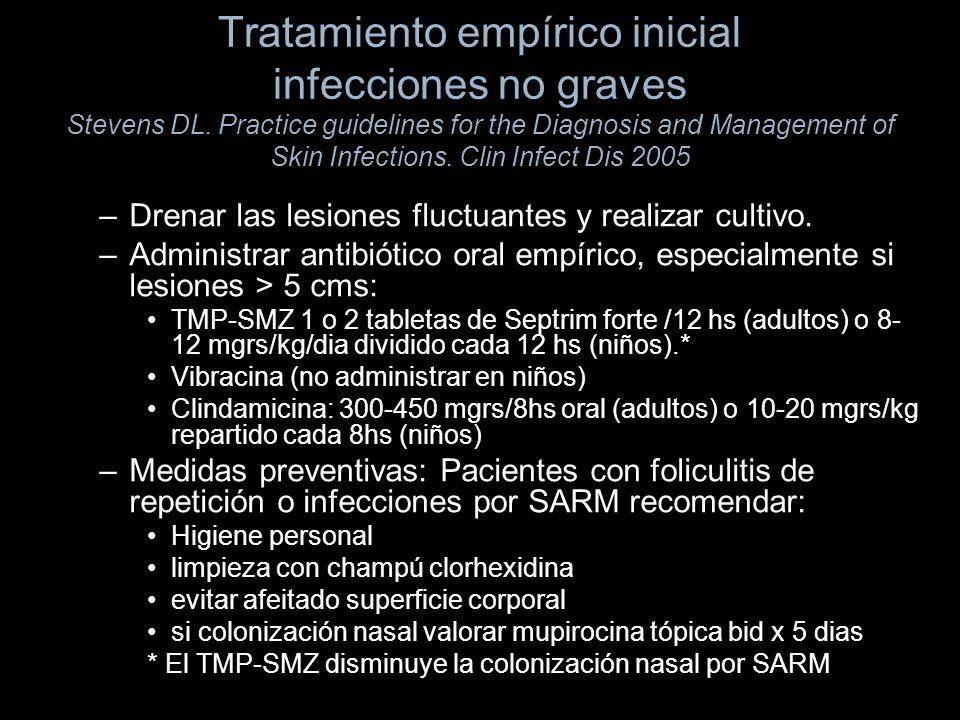 Tratamiento empírico inicial infecciones no graves Stevens DL