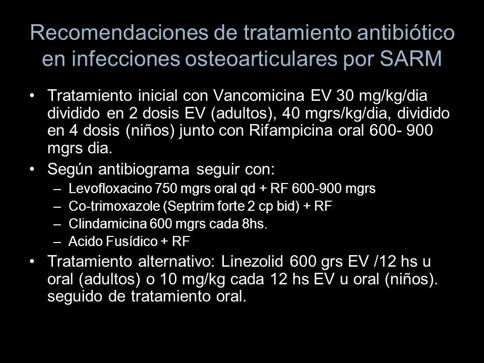 Recomendaciones de tratamiento antibiótico en infecciones osteoarticulares por SARM