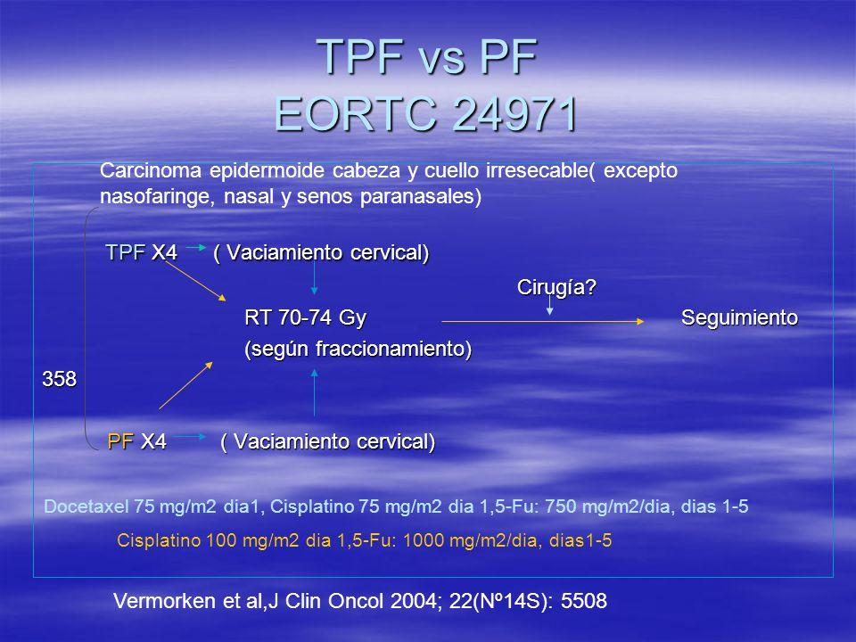 TPF vs PF EORTC 24971 TPF X4 ( Vaciamiento cervical)