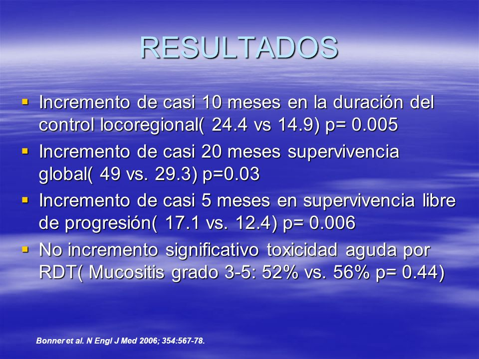 RESULTADOS Incremento de casi 10 meses en la duración del control locoregional( 24.4 vs 14.9) p= 0.005.