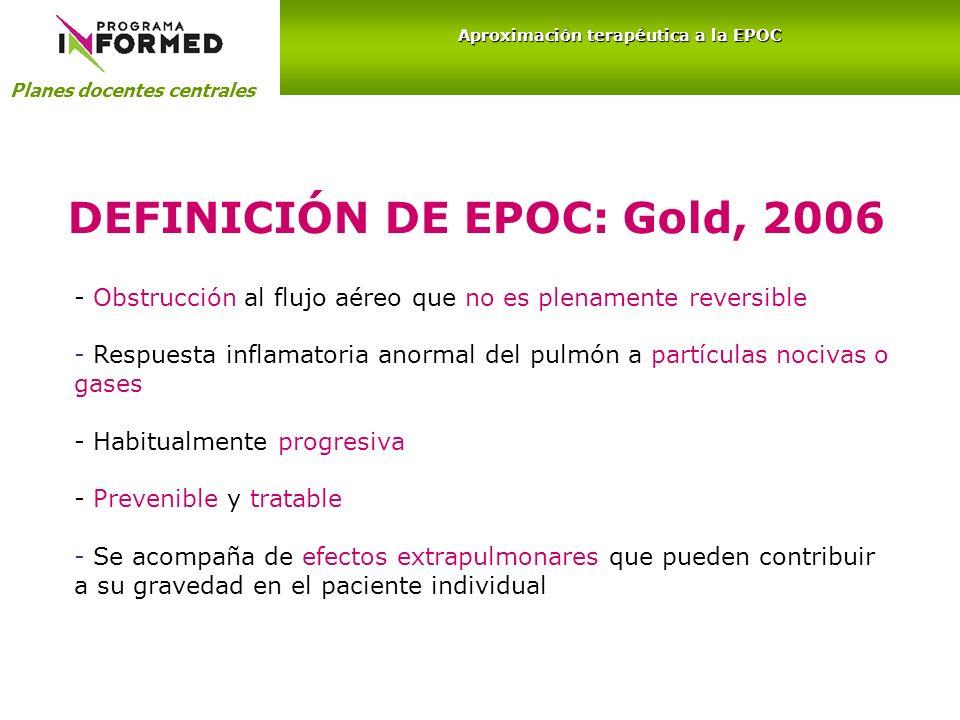 Aproximación terapéutica a la EPOC DEFINICIÓN DE EPOC: Gold, 2006