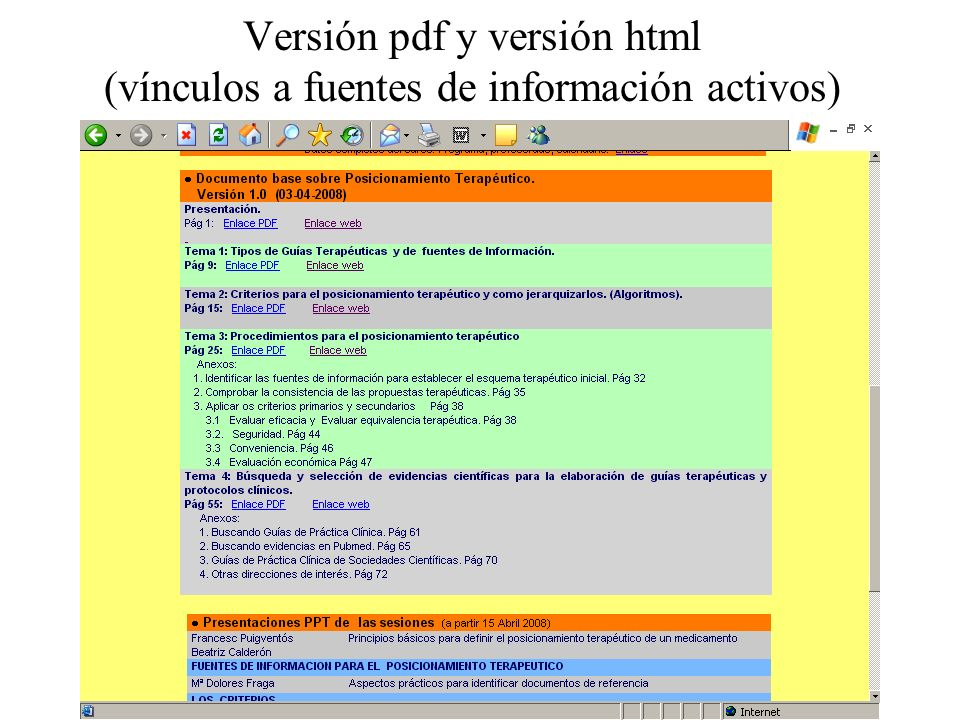 Versión pdf y versión html (vínculos a fuentes de información activos)