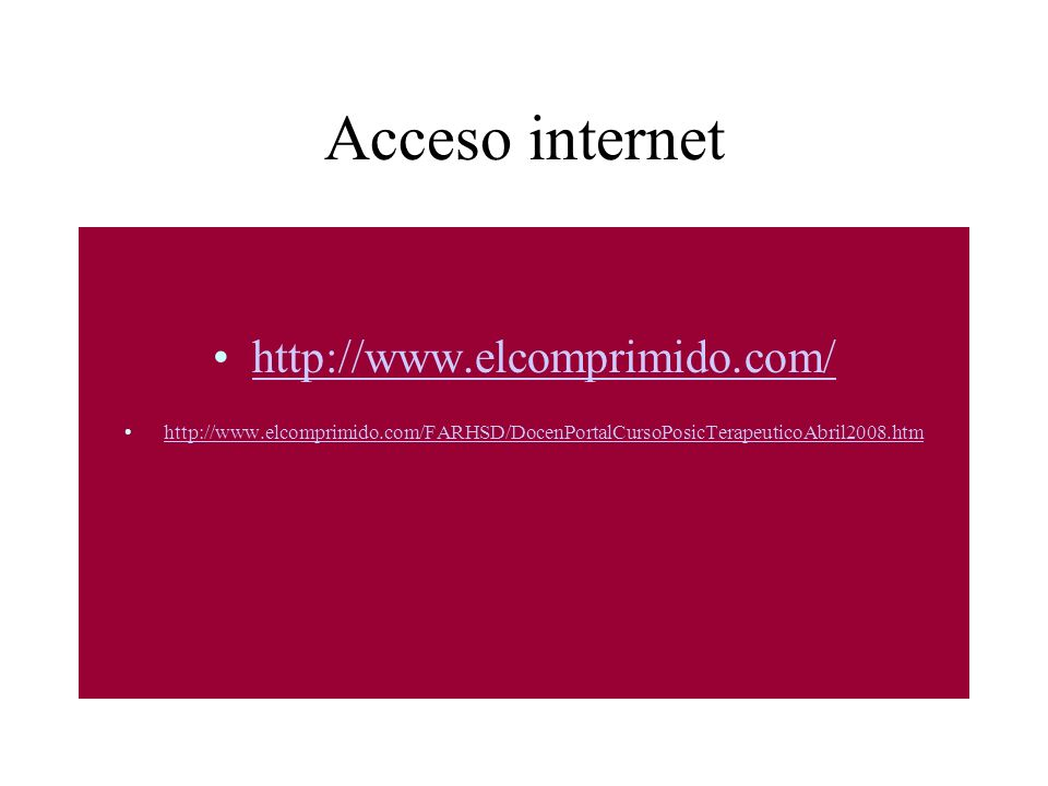 Acceso internet http://www.elcomprimido.com/