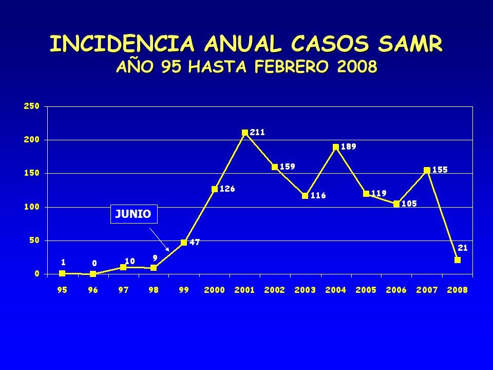 INCIDENCIA ANUAL CASOS SAMR AÑO 95 HASTA FEBRERO 2008