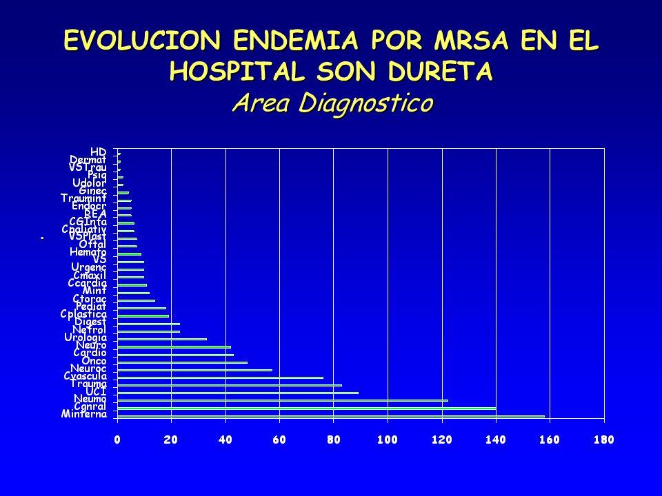EVOLUCION ENDEMIA POR MRSA EN EL HOSPITAL SON DURETA Area Diagnostico