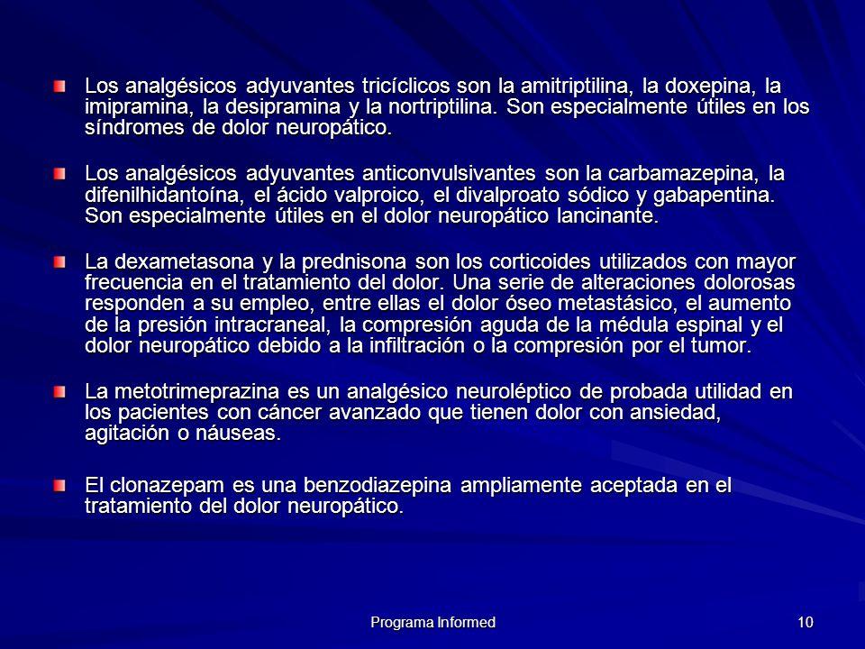 Los analgésicos adyuvantes tricíclicos son la amitriptilina, la doxepina, la imipramina, la desipramina y la nortriptilina. Son especialmente útiles en los síndromes de dolor neuropático.