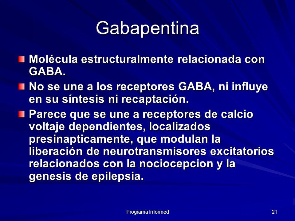 Gabapentina Molécula estructuralmente relacionada con GABA.