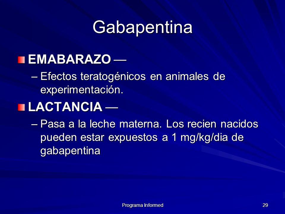 Gabapentina EMABARAZO — LACTANCIA —