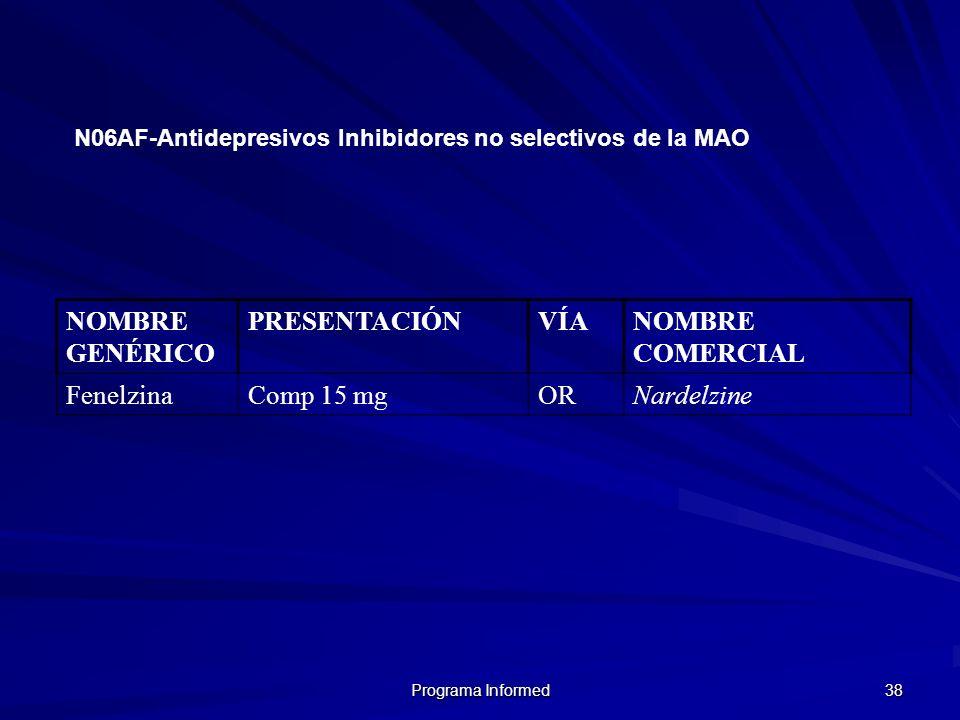 NOMBRE GENÉRICO PRESENTACIÓN VÍA NOMBRE COMERCIAL Fenelzina Comp 15 mg