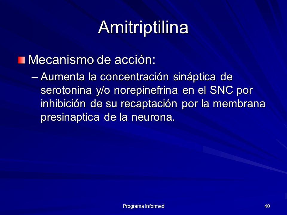 Amitriptilina Mecanismo de acción: