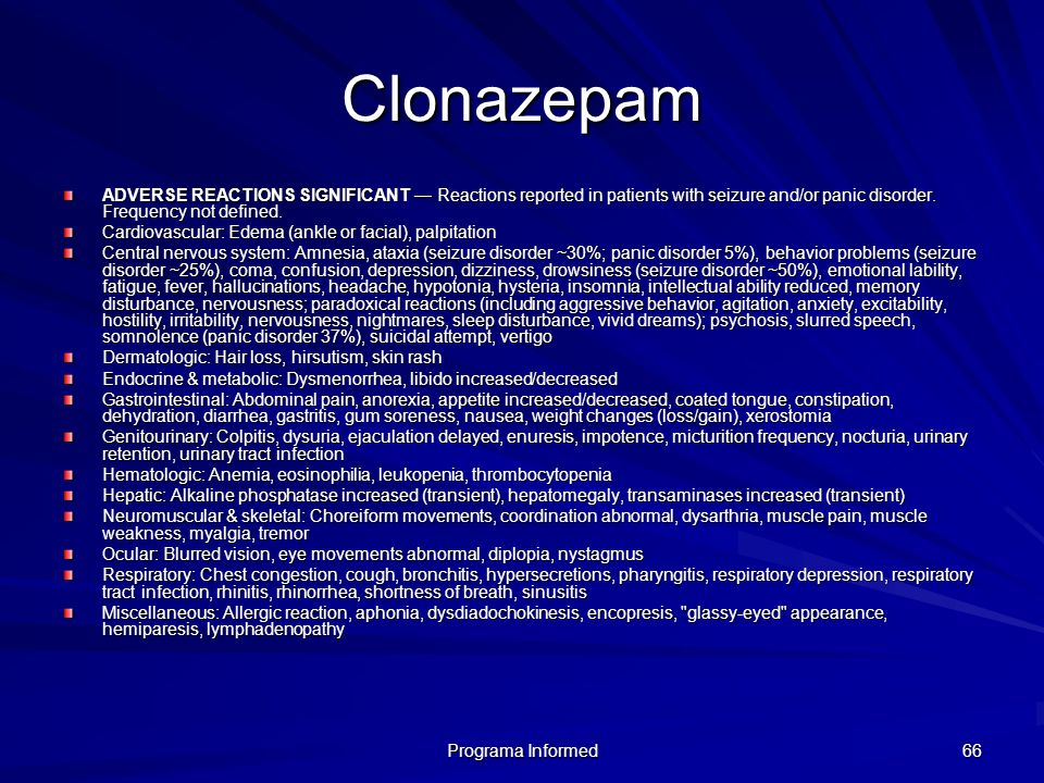 Clonazepam ADVERSE REACTIONS SIGNIFICANT — Reactions reported in patients with seizure and/or panic disorder. Frequency not defined.