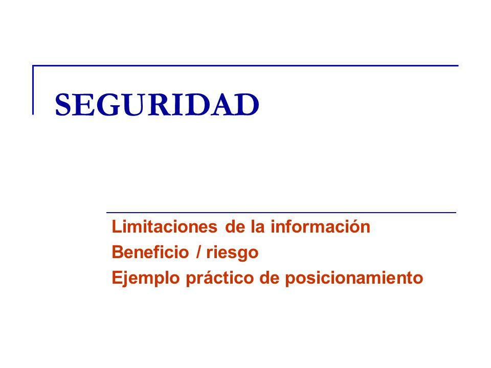 SEGURIDAD Limitaciones de la información Beneficio / riesgo