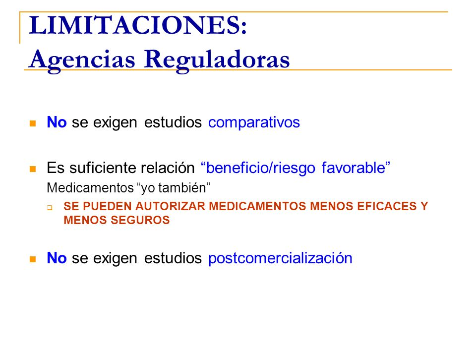 LIMITACIONES: Agencias Reguladoras