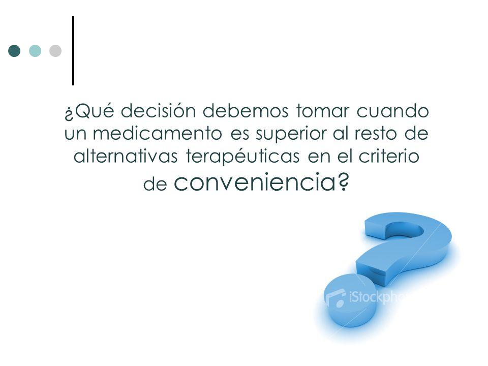¿Qué decisión debemos tomar cuando un medicamento es superior al resto de alternativas terapéuticas en el criterio de conveniencia
