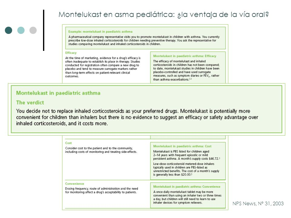 Montelukast en asma pediátrica: ¿la ventaja de la vía oral