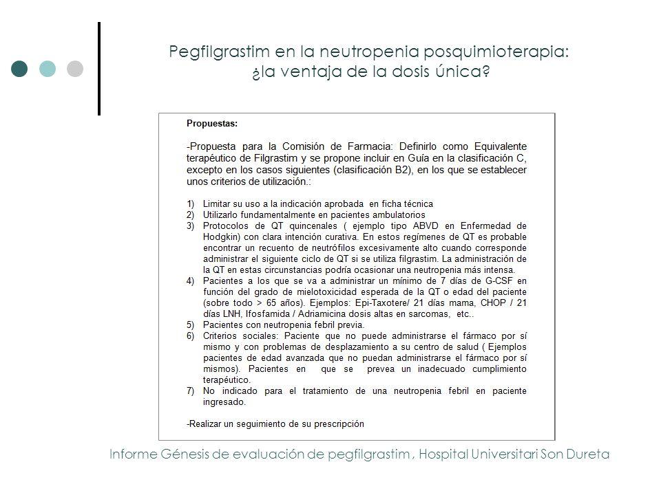 Pegfilgrastim en la neutropenia posquimioterapia: